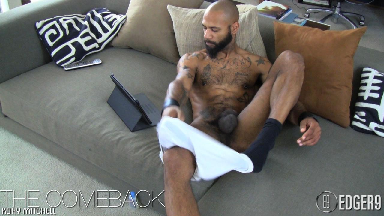 Edger9-Big-Dick-Kory-Big-Black-Cock-Cum-04 Hairy Tattooed Black Stallion Jerks His Huge Thick Cock