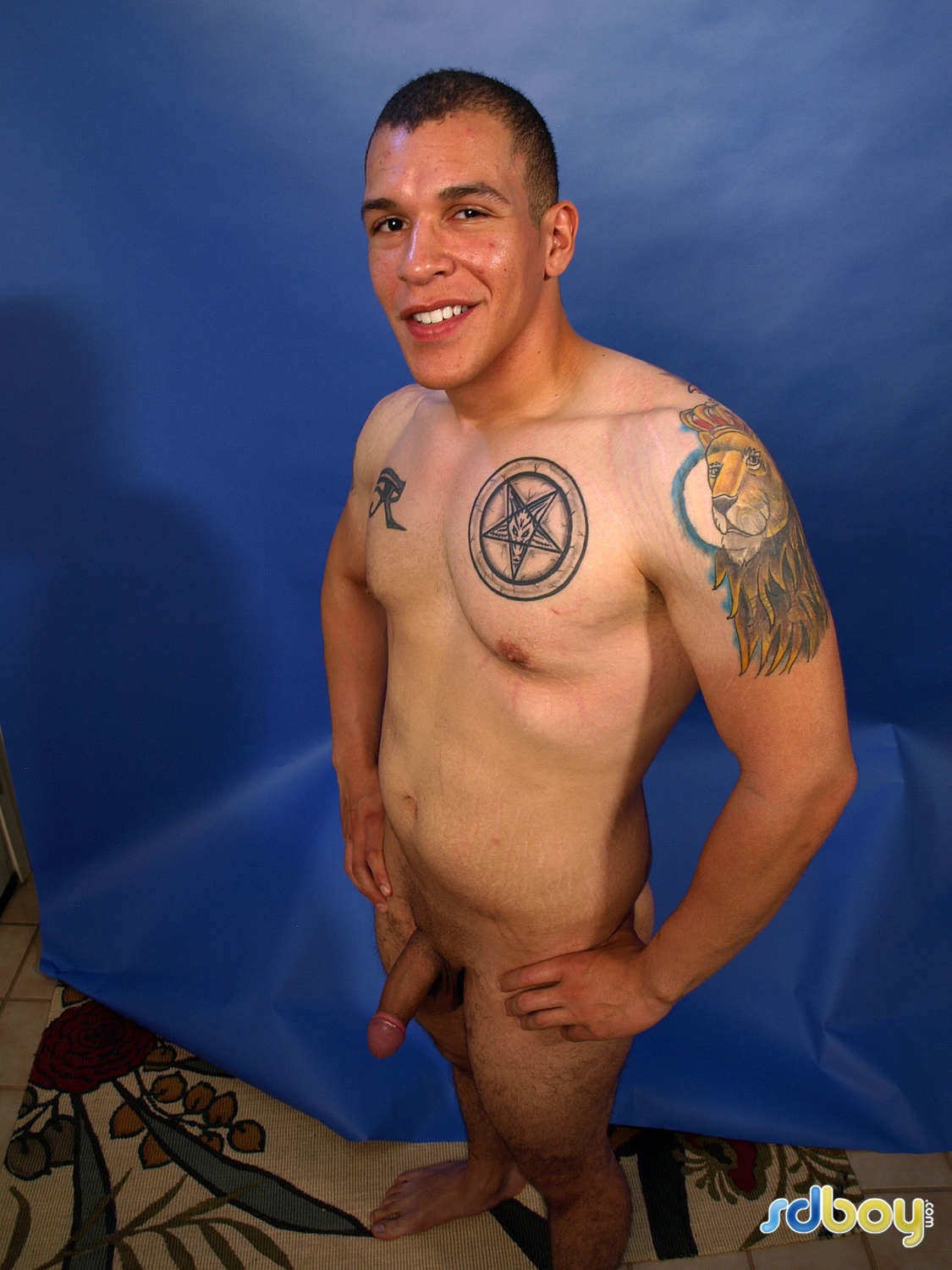 SD-Boy-Ray-Sosa-Big-Uncut-Cock-Latino-Marine-Masturbating-Amateur-Gay-Porn-05 Amateur Gay Latino Marine Shows His Tatts and Jerks His Uncut Cock