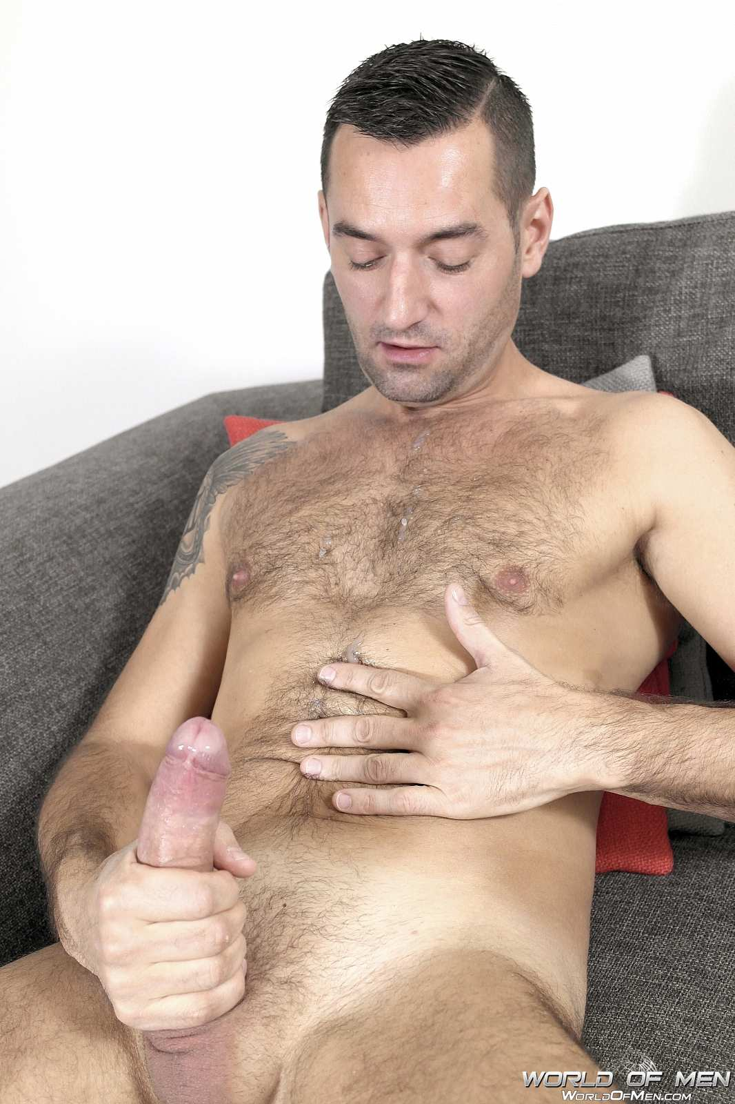 World Of Men Chris ADam Big Uncut Cock Jerk Off Masturbation Amateur Gay Porn 07 Hairy Sexy Stud Fingers His Ass And Plays With His Huge Uncut Cock